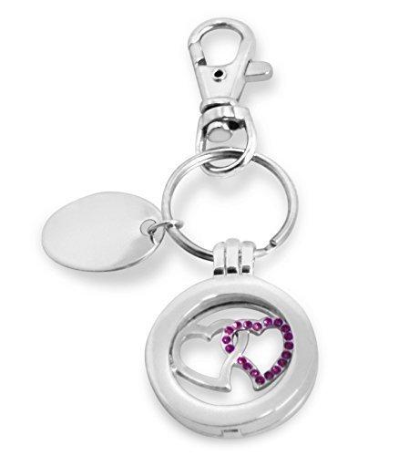 personnalisé gravé / Personnalisé Coeur Rose Porte-clés avec pochette cadeau - pl137pnk-k
