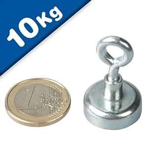 Aimant avec oeillet Ø 20 mm Néodyme - Zingué - adh. 10 kg