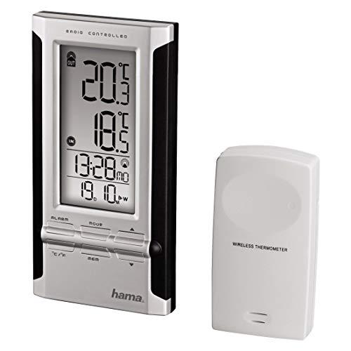 Hama Elektronische Wetterstation EWS-180, schwarz/silber, mit Funkuhr, Datum und Wecker