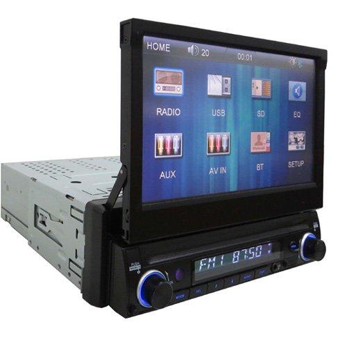 Majestic SV-493 Car Vision Autoradio mit 7-Zoll-Display (17,8cm), Touchscreen, Farbmonitor, mit Ausfahrautomatik und Fernbedienung, einstellbar, schwarz -