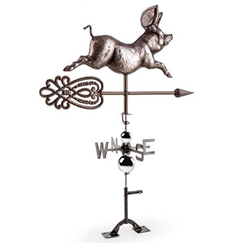 Blumfeldt Nostalgie Wetterschwein Retro Glücksschwein-Wetterfahne aus Stahl für Hof, Haus und Garten (große Schweinchen-Form, edel schwarz brüniert, mit Pfeil als Windanzeiger, Windrose mit NSWE-Anzeige, inkl. Montage-Set für Wand und Dach) silber