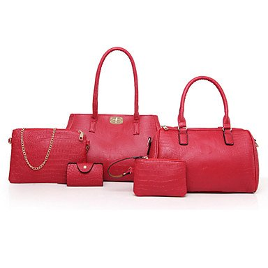 Frauen Tote PU All Seasons and Office & Karriere Rechteck Reißverschluss Rot Schwarz Gold Blau Gold