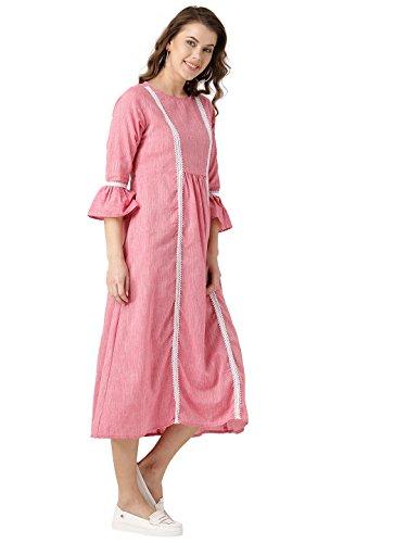 Desi-Fusion-Women-Pink-Solid-A-Line-Cotton-Flex-Dress