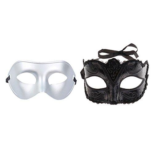 men Masquerade Ball Halbmasken Venezianische Party Augenmaske Schwarz Silber ()