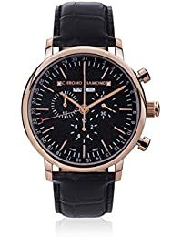 Chrono Diamond 82085_schwarz-44 mm - Reloj para hombres, correa de metal color negro