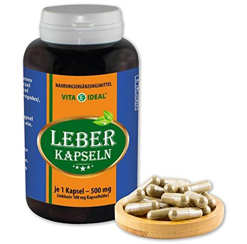 VITA IDEAL ® Leber 120 Kapseln je 500mg, mit Mariendistel, Löwenzahn, Kurkuma, Astragalus, ohne Zusatzstoffe