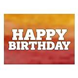 Große XXL Glückwunschkarte A4 (Happy Birthday Orange-Rot modern) mit Umschlag - Edle Design Geburtstagskarte zum Geburtstag