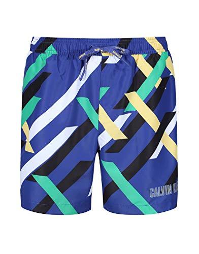Calvin Klein Medium Drawstring Swim Shorts Large Crossing Stripes Print Blue