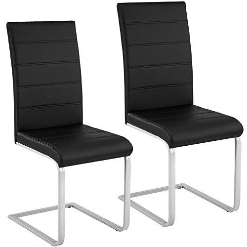 TecTake Esszimmerstühle Schwingstuhl Set | Kunstleder - Diverse Farben - (2er Set schwarz | Nr. 402549)