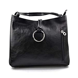 Damen tasche handtasche ledertasche damen ledertasche schultertasche leder tasche henkeltasche umhängetasche made in italy schwarz