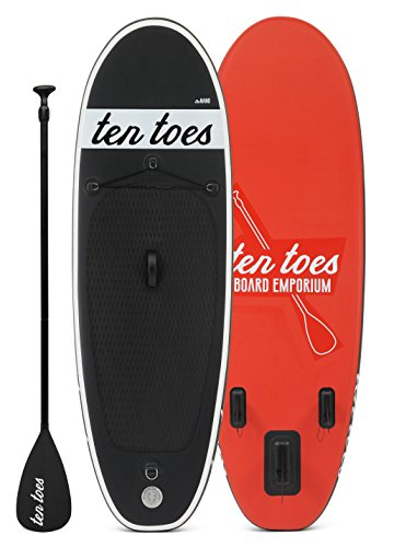 Ten Toes Board Emporium Nano aufblasbares Stand-Up-Paddelboard - Schwarz/rot, Small/20,32 cm
