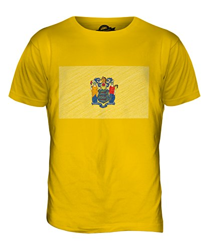 CandyMix Bundesstaat New Jersey Kritzelte Flagge Herren T Shirt Dunkelgelb