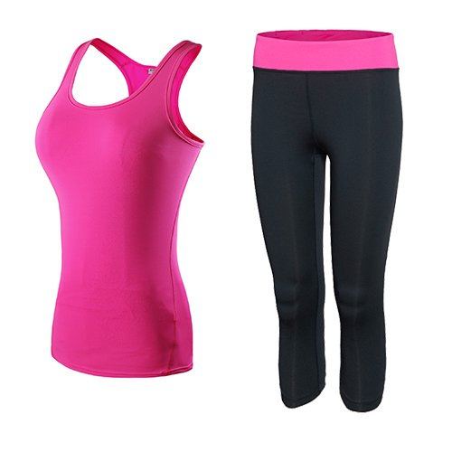 JIANSHENYK Yoga-Set für Damen, mit Oberteil und Oberteil, Skinny Leggings, Capri-Hose, Sport-Sets, Fitness-Kleidung, 2 Stück M Rose pink Rosa Capri-set