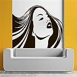 sifengdp Beauty Girl Salon Adesivo murale Adesivo murale Donna Capelli Lunghi Vinile Adesivi murali Parrucchieri Parrucchiere cosmetico Stilista Moda 57x90cm