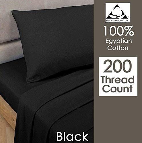 Par de fundas de almohada, Rayyan Linen, 100% algodón egipcio de 200 hilos, 50 x 75cm, negro, 2X...