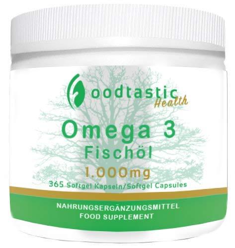 Foodtastic Omega-3 Fischöl hochdosiert [1000 mg] 365 Softgel Kapseln, gut verträglich und reich an EPA & DHA, hohe Stärke und maximale Verfügbarkeit