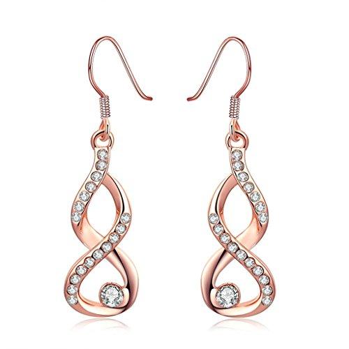 Beydodo 18K Rose Gold Vergoldet Ohrringe Damen (Tropfen-Ohrringe) Aaa Strass CZ Gestochen Ohrhänger Unendlichkeit Abbildung 8 Umweltschutz (Diy Boho Hippie Kostüm)