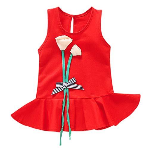 cinnamou Mädchen Crewneck Baby Mädchen ärmellose 3D Dreidimensionale Blume Party Prinzessin Kleider T-Shirt Kleid Kinderkleider Festliche 2-8 T/Jahre