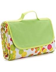 ULTNICE Alfombra de Picnic Manta Impermeable al Aire Libre Con Bolsa - Punto Colorido Verde