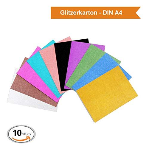 ZADAWERK® Glitzerkarton - 340 g/m² - DIN A4-10 Farben - 10 Stück - Bastel-Set für Weihnachts-Karten (Card Stock, Rosa Papier)