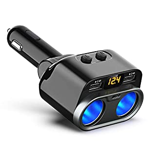 CHGeek Auto Ladegerät, 12V/24V 80W KFZ Ladegerät Dual Auto Adapter 2-Fach Zigarettenanzünder mit 2 USB-Port und 1 Type C-Port 5V/5.3A gesamt, Auto Ladeadapter mit austauschbare 7.5A Sicherung