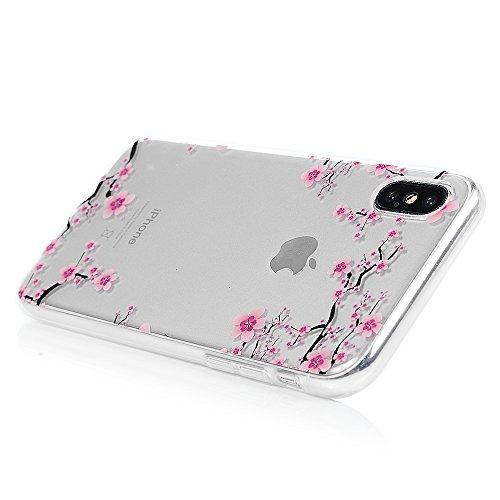 iPhone X Hülle Badalink Gemalt IMD TPU Case Cover Ultraslim Handyhülle Schutzhülle Silikon Bumper Schutz Tasche Schale Transparent Antikratz Backcover?Pinguin Plum Blume