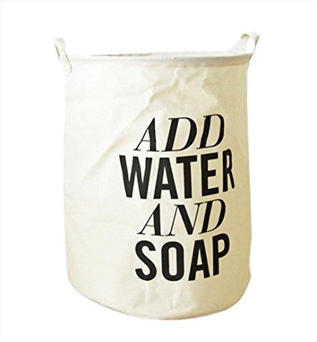 Doitsa Großen Wäschekorb Zusammenklappbaren Round Wäschesack aus Baumwolle Wasserdicht Kinder Spielzeug Organizer mit Henkel (ADD WATER AND SOAP)