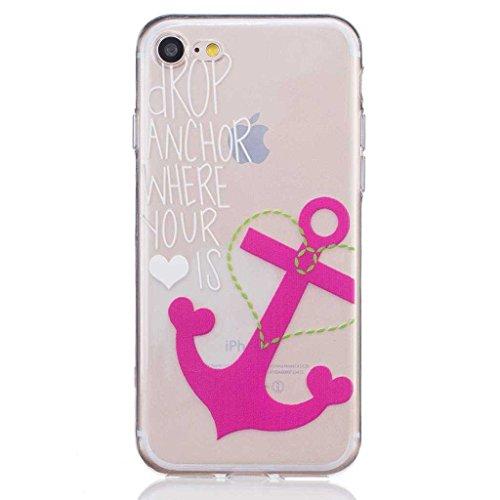 iGrelem® Cover per iPhone 7, con protezione per lo schermo in vetro temperato, Ultra sottile, trasparente, morbida, in TPU, per Apple iPhone 7da 4,7, motivo a scelta con fiori, farfalle, piume color Anchor, Pink