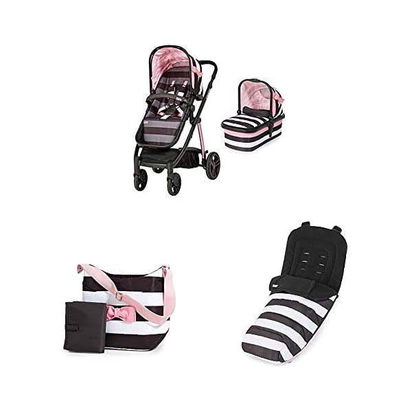 Cosatto Wow Pram and Pushchair, from Birth Carrycot and Pushchair Suitable upto 25 kg, GoLightly 3 with Footmuff and Change Bag Cosatto Backed by science, Cosatto prams are ideal for your baby; the patterns in Cosatto hoods are designed to stimulate your baby with bright, eye-catching colour and storytelling pattern Includes the from-birth carrycot (suitable for occasional overnight sleeping), then swap to pushchair unit, suitable up to 25 kg, with parent and world facing options and four recline positions The Cosatto Footmuff warms the cockles of our hearts It is literally one huge hug for your dot; it is custom crafted to fit your Cosatto pushchair perfectly 1