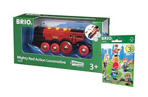 BRIO Eisenbahn Set - 33592 Rote Lola Batterie Lok und 33829 1x Figuren Pack Serie 1