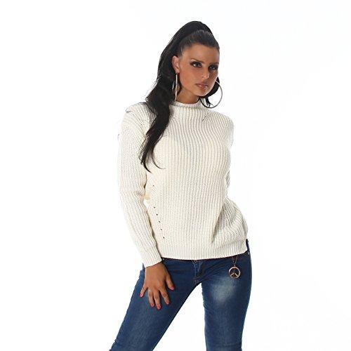 VOYELLES Eleganter Damen Strickpullover mit Stehkragen, Pulli in vielen Trend-Farben erhältlich 34-38 Creme Weiss