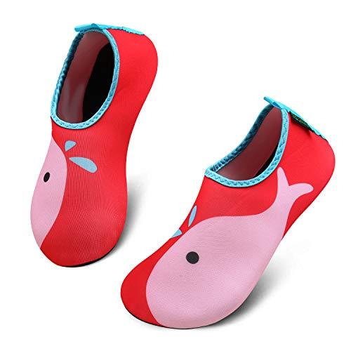 katliu Mädchen Jungen Badeschuhe Wasserschuhe Strandschuhe Schwimmschuhe Barfußschuhe Surfschuhe Aqua Schuhe für Kinder Baby(067 Rot,22/23 EU)