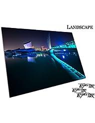 Salford Quays pont la nuit avec lumières Manchester City Art, A3 - SAV