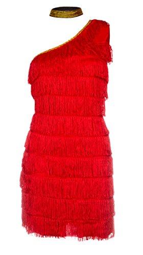 Kostüm Hohe Qualität - Schickes 20er Flapper Kostüm von Emma's Wardrobe - Enthält Rot Fransenkleid, Haarband und weiße Federboa - Flapper Kostüm für Halloween und Auftritte - Hohe Qualität - Größen 36-44 (42, Rot)