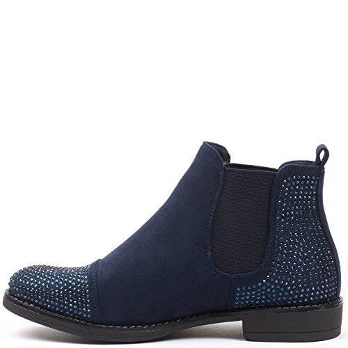 Ideal Shoes–Stivaletti stile Chelsea, effetto camoscio, con strass, mod. Meili Marine