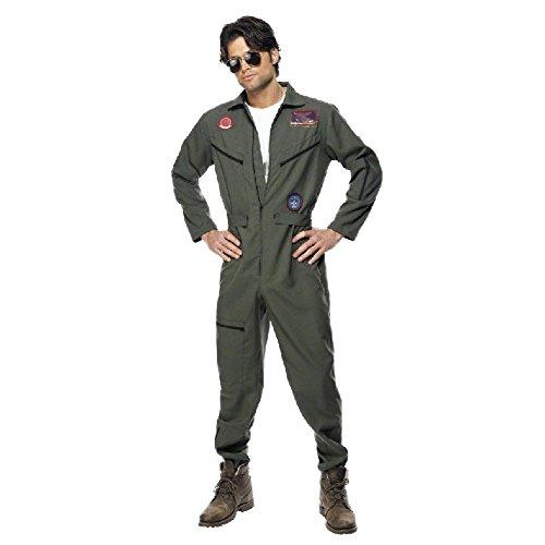 Cosfun Halloween Kostüm für Herren Arbeiterkleidung Original Top Gun Kostüm Topgun Pilotenkostüm Pilot Gr. (Top Halloween Gun)