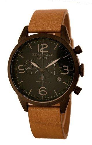 Zeno Reloj Analógico para Hombre de Cuarzo con Correa en Cuero 4773Q-BK-I1-6