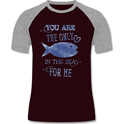 Statement Shirts - Your are the only fish in the sea for me - zweifarbiges Baseballshirt für Männer Burgundrot/Grau meliert