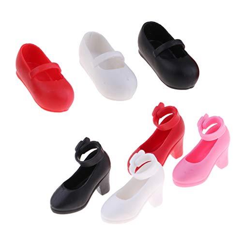 perfeclan 7 Paare Puppenschuhe Sandalen High Heels Schuhe Freizeitschuhe Für 1/6 Monster High Puppe Outfit Zubehör ( Schwarz + Weiß + Rot )