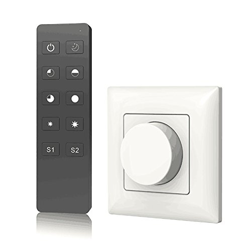AC Triac Rotary Panel Dimmer Rotary Panel AC Phase-Cut Dimmer Dimming RF Remote for Single Color Dimmable LED Lamps Traditional Incandescent Halogen Lights Ac Rotary Switch Panel