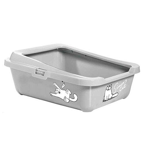 Karlie Simon's Cat 51756 -Caja de arena para gato, 43 x 32 x 16cm, color gris - 43 x 32 x 16 cm. - Parte inferior con borde extra alto. - Cierre de clic fácil. - Divertidos dibujos del gato Simon's Cat. - Fácil de limpiar.