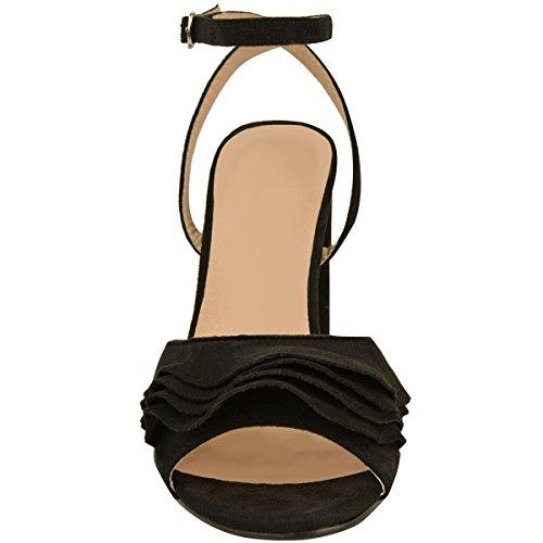 Donna A Blocco Alla Caviglia Col Tacco Alto Sandali Con Cinturino Da Festa Punta Aperta Scarpe Numeri Nera Pelle Scamosciata