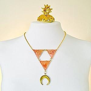 Mond Surrealismus Halskette - Mond reversible Halskette - Boho Juwelen - Vintage Kunststoff Schmuck - Mond Halskette - Mond Schmuck