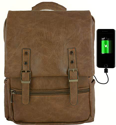 GiDan Zaino Uomo Pelle pu Marrone Vintage Impermeabile USB Porta PC per Computer Portatile 13-15 Pollici, Laptop,Tablet,Multifunzione, Scuola, università, Aereo (Chiaro)