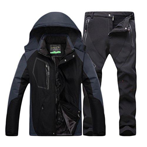 Herren Wasserdichte Warm Regenjacke Outdoor Jacke Funktionshosen Wasserdicht warm Skihosen Trekkinghose Kit Schwarz B M