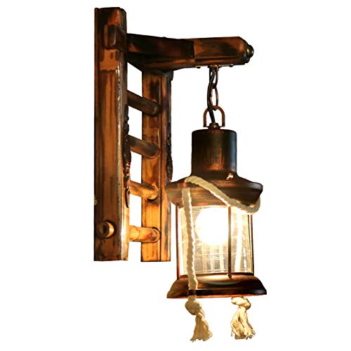 LPZF Wandleuchte Vintage Laterne Schattierungen E27 Wandleuchte, Antik Bambus Halter Wandlampe Rustikal Beleuchtung Bar Hotel Flur Befestigung-1-Lichter 24x33cm
