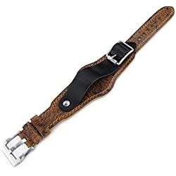 20mm Hezzo Bund Military Style Double-layer Watch Strap, Heavy Scratch Brown Leather