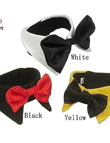 MQZM Chien Chat Chiot Vêtements Vêtements Animal Dress Up - fournitures pour animaux domestiques Bandanas & Hats / Cravate / Colliers pour Chiens Chats / Noir / Blanc / Jaune Printemps/Automne Noël Mariage / S / M / L / XL / XXL Coton , noir , noir-l-l