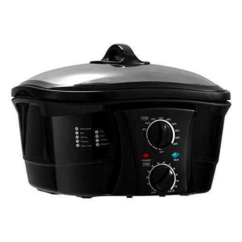 COSTWAY 8 in 1 Multikocher Slow Cooker Schongarer Multicooker mit Temperaturregler✔ 5 L✔ ink. Dampfständer, Frittierkorb, Spieße ✔1500W✔Timer✔ Glasdeckel ✔ (Schwarz)
