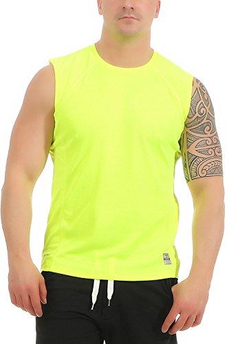 Mivaro Herren Shirt ohne Arme - Tank-Top - Muscle Shirt - Muskelshirt - Achselshirt - Funktionsshirt, Größe:XXL, Farbe:Neongelb - Armee Tank-top